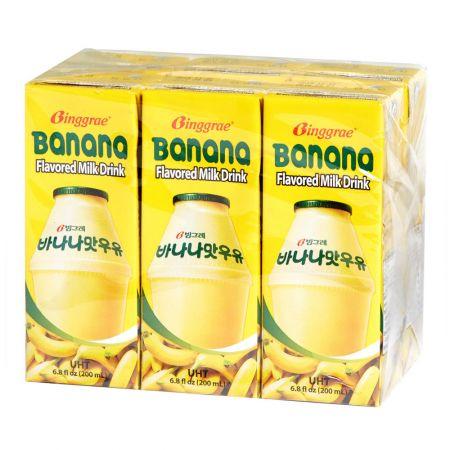 Banana Flavored Milk Drink 6.8oz(200ml) 6 Packs