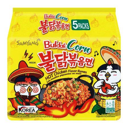 Corn Hot Chicken Flavor Ramen 4.59oz(130g) 5 Packs