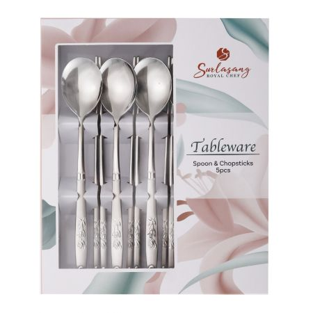 Rose Spoon and Chopsticks 5 Set