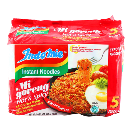 Mi Goreng Fried Noodles Hot and Spicy 2.8oz(80g) 5 Packs