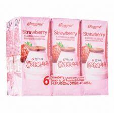 Strawberry Flavored Milk Drink 6.8oz(200ml) 6 Packs, 딸기맛 우유 6.8oz(200ml) 6팩