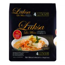 Prima Taste Singapore Laksa La Mian Noodle 6.5oz(185g) 4 Packs, 프리마 테이스트 싱가포르 락사 라면 6.5oz(185g) 4 팩, 百勝厨 新加坡叻沙拉麵 6.5oz(185g) 4包