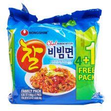 Nongshim Chal Bibim Myun  4.58oz(130g) 5 Packs, 농심 찰비빔면  4.58oz(130g) 5팩