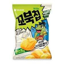 Orion Turtle Chips Cornsoup Flavor Big 5.6oz(160g), 오리온 꼬북칩 콘스프맛 빅사이즈 5.6oz(160g), 好麗友 烏龜玉米脆片 5.6oz(160g)