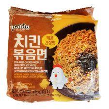 Paldo Stir-fried Chicken Noodle with Spicy Soy Sauce 4.58oz(130g) 4 Packs, 팔도 치킨볶음면 매콤간장맛 4.58oz(130g) 4팩