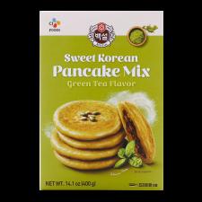 Beksul Sweet Korean Pancake Mix Green Tea Flavor 14.1oz(400g), 백설 녹차맛 호떡 믹스 14.1oz(400g)