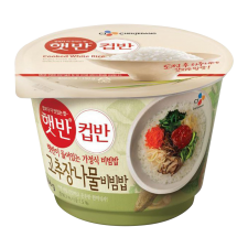 CJ Cooked White Rice with Assorted Vegetables Bibimbap 8.1oz(230g), CJ 햇반 컵반 고추장나물비빔밥 8.1oz(230g)