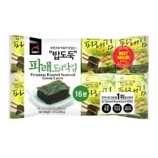 HAIO Premium Roasted Seaweed (Green Laver) 0.15oz(4.25g) 16 Packs, HAIO 밥도둑 도시락 파래김 0.15oz(4.25g) 16팩