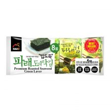 HAIO Premium Roasted Seaweed Green Laver 0.15oz(4.25g) 8 Packs, HAIO 밥도둑 파래 도시락김 0.15oz(4.25g) 8팩
