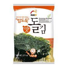 HAIO Premium Roasted Seaweed (Laver) 0.71oz(20g) 4 Packs, HAIO 밥도둑 맛돌김 4팩 0.71oz(20g)