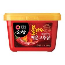 Chung Jung One Sunchang 100% Brown Rice Red Pepper Paste Very Spicy 15.87oz(450g), 청정원 100% 현미 불타는 매운 고추장 15.87oz(450g)