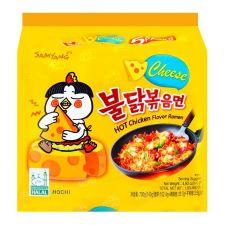 Samyang Cheese Hot Chicken Flavor Ramen 4.94oz(140g) 5 Packs, 삼양 치즈 불닭볶음면  4.94oz(140g) 5팩