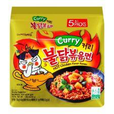 Samyang Curry Hot Chicken Flavor Ramen 4.94oz(140g) 5 Packs, 삼양 커리 불닭볶음면 4.94oz(140g)