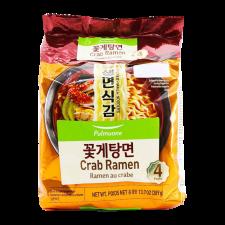 Pulmuone Air Dried Crab Ramen 3.43oz(97g) 4 Packs, 풀무원 생면식감 꽃게탕면 3.43oz(97g) 4개입