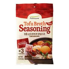 Pulmuone Tofu Broth Soup Seasoning Original Spicy Flavor 1.48oz(42g), 풀무원 정통 순두부찌개 양념스프 1.48oz(42g)