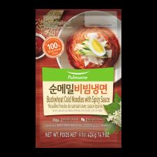 Pulmuone Buckwheat Cold Noodles with Spicy Sauce 14.9oz(424g), 풀무원 순메밀 비빔냉면 14.9oz(424g)
