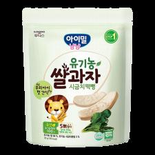 Ildong Organic Baby Rice Snack Spinach 1.05oz(30g), 일동 유기농 쌀과자 시금치 떡뻥 1.05oz(30g)