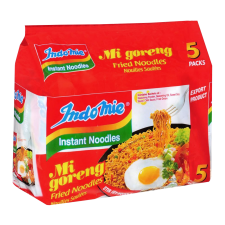 Indomie Mi Goreng Fried Noodles 3oz(85g) 5 Packs, 인도미 미고랭 볶음라면 3oz(85g) 5팩, 印尼營多 撈麵 (原味) 3oz(85g) 5包
