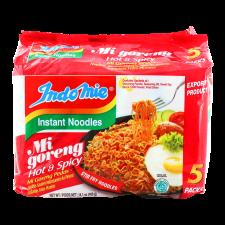 Indomie Mi Goreng Fried Noodles Hot and Spicy 2.8oz(80g) 5 Packs, 인도미 미고랭 볶음라면 핫 앤 스파이시 2.8oz(80g) 5팩, 印尼營多 撈麵 (香辣味) 2.8oz(80g) 5包