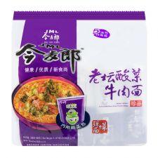 JINGMAILANG Instant Noodle Beef Flavor & Sour Pickled Cabbage 4.24oz(120g) 5 Packs, JINGMAILANG 인스턴트 라면 핫앤사워 (소고기와 절인배추) 4.24oz(120g) 5 Packs, 今麥郎  老壇酸菜牛肉面 4.24oz(120g) 5 Packs