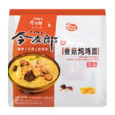 JINGMAILANG Instant Noodle Chicken & Mushroom Flavour 3.85oz(109g) 5 Packs, JINGMAILANG 인스턴트 라면 닭고기와 버섯맛 3.85oz(109g) 5 Packs, 今麥郎 香菇燉雞麵 3.85oz(109g) 5 Packs