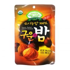 Organic Farm Organic Peeled Roasted Chestnut 3.5oz(100g), 유기농장 유기농 구운깐밤 3.5oz(100g)