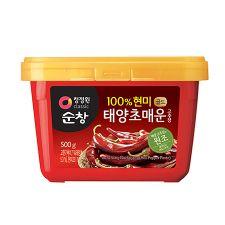 Chung Jung One Sunchang 100% Brown Rice Red Pepper Paste 1.1lb(500g), 청정원 순창 100% 현미 태양초 매운 고추장 1.1lb(500g)