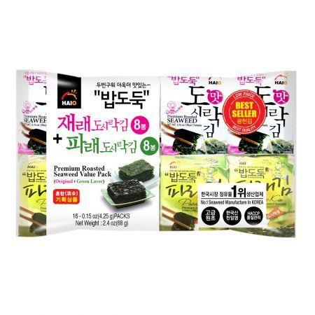 Premium Roasted Seaweed Value Pack (Original+Green Laver) 0.15oz(4.25g) 16 Packs