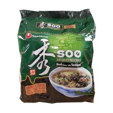 Soo Air dried Noodles Beef Flavor with Seaweed 3.24oz(92g) 4 Packs