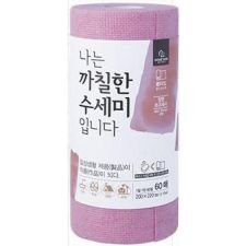 Disposable Roll Type Scrubber Pink 60 Sheets(1 Roll)