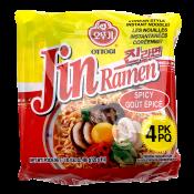 Ottogi Jin Ramen Hot Flavor 4.23oz(120g) 4 Packs, 오뚜기 진라면 매운맛 4.23oz(120g) 4팩, 不倒翁 Jin Ramen Hot Flavor 4.23oz(120g) 4 Packs