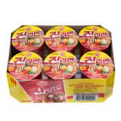 Ottogi Jin Ramen Cup Hot Flavor 2.29oz(65g) 6 Cups, 오뚜기 진라면컵 매운맛 2.29oz(65g) 6컵