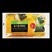 Pulmuone Crispy Seaweed Seasoned with Perilla Seed Oil 0.17oz(5g) 3 Packs, 풀무원 들기름 재래김 0.17oz(5g) 3팩