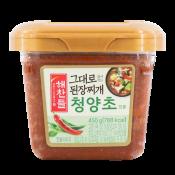 Haechandle Soybean Paste for Stew (Hot Pepper Flavor) 15.87oz(450g), 해찬들 그대로 된장찌개 청양초 15.87oz(450g)
