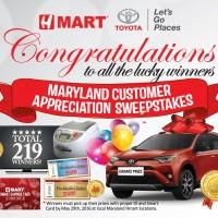 MD customer appreciation sweepsteakes winners