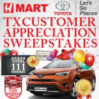 TX  Customer Appreciation Sweepstakes (March 26th – June 26th, 2016)