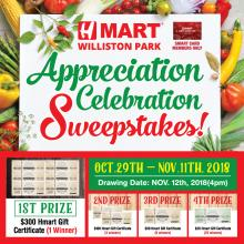 H Mart Williston Park, Customer Appreciation Sweepstakes Event!