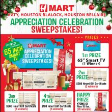 Hmart Houston Blalock, Houston Bellaire and Katy Sweepstakes