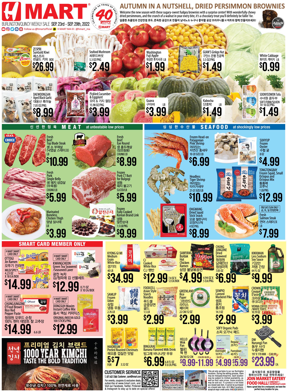 Weekly sales on Massachusetts