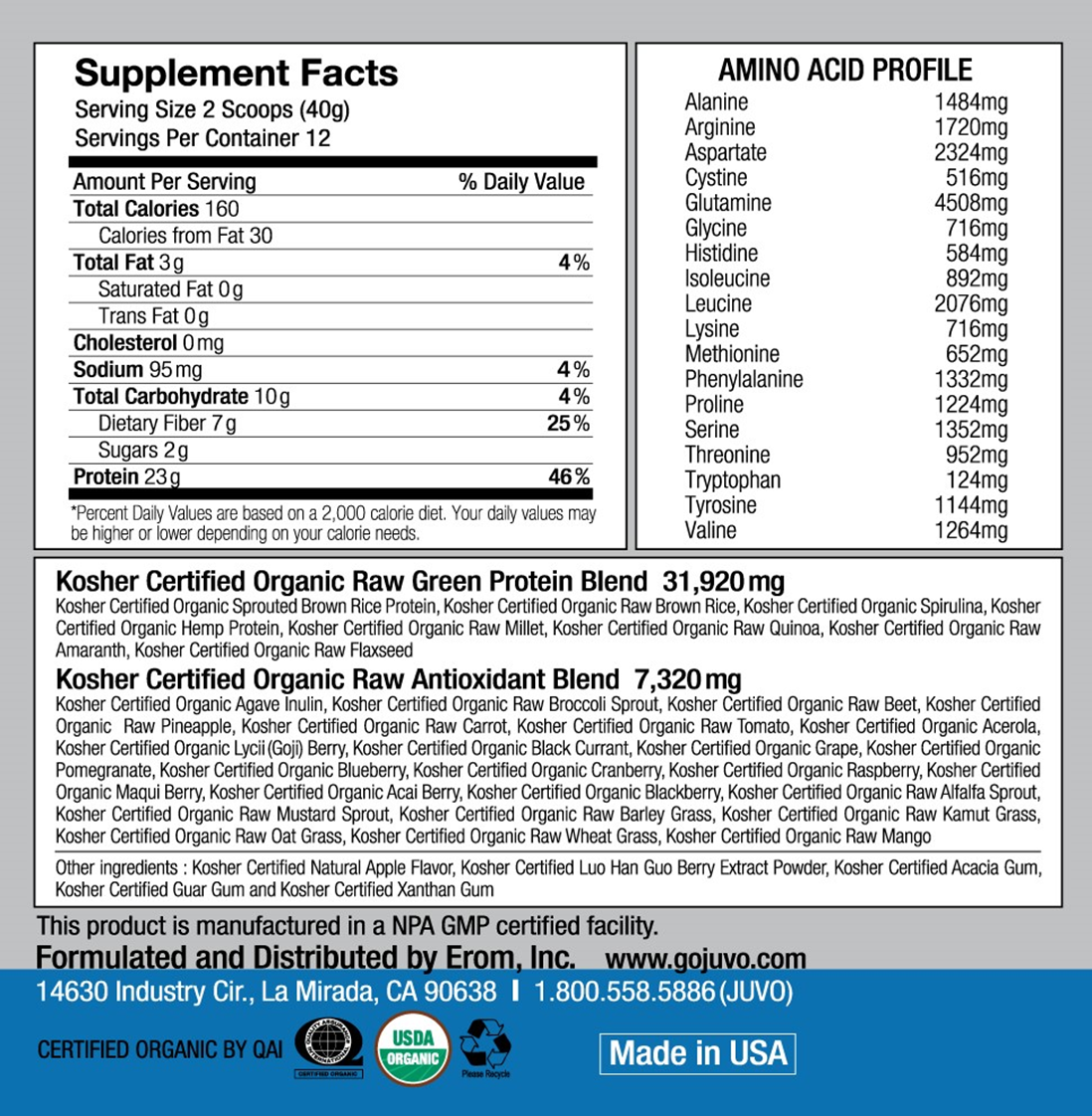 JUVO Raw Green Protein 16.9oz(480g) 12 Servings