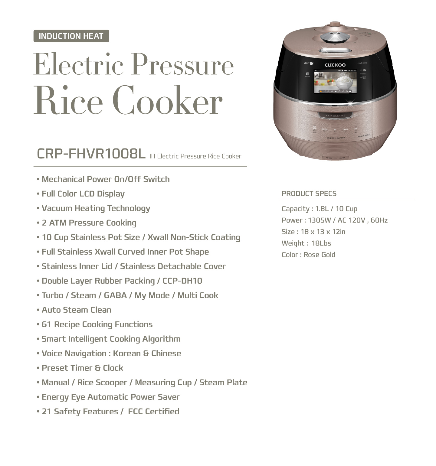 Cuckoo IH Induction Heating Rice Cooker (CRP-FHSR0608L)6 Cups