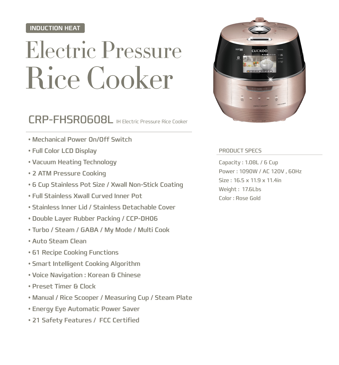 Cuckoo IH Induction Heating Rice Cooker (CRP-FHSR0608L) 6 Cups