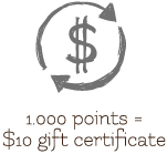 1,000 points = $10 gift certificate