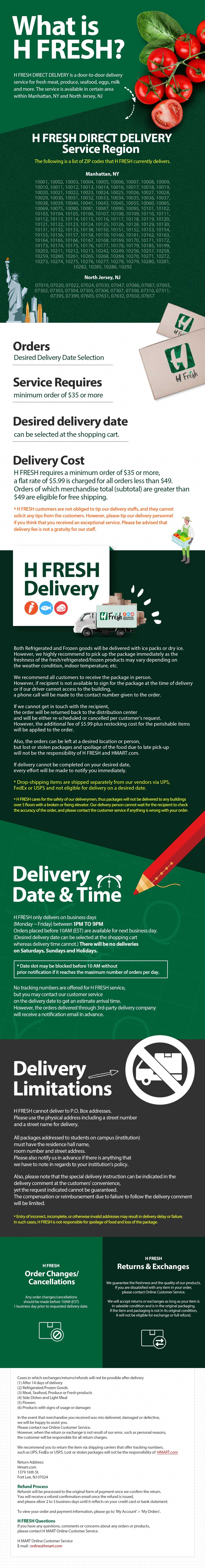 H FRESH delivery info