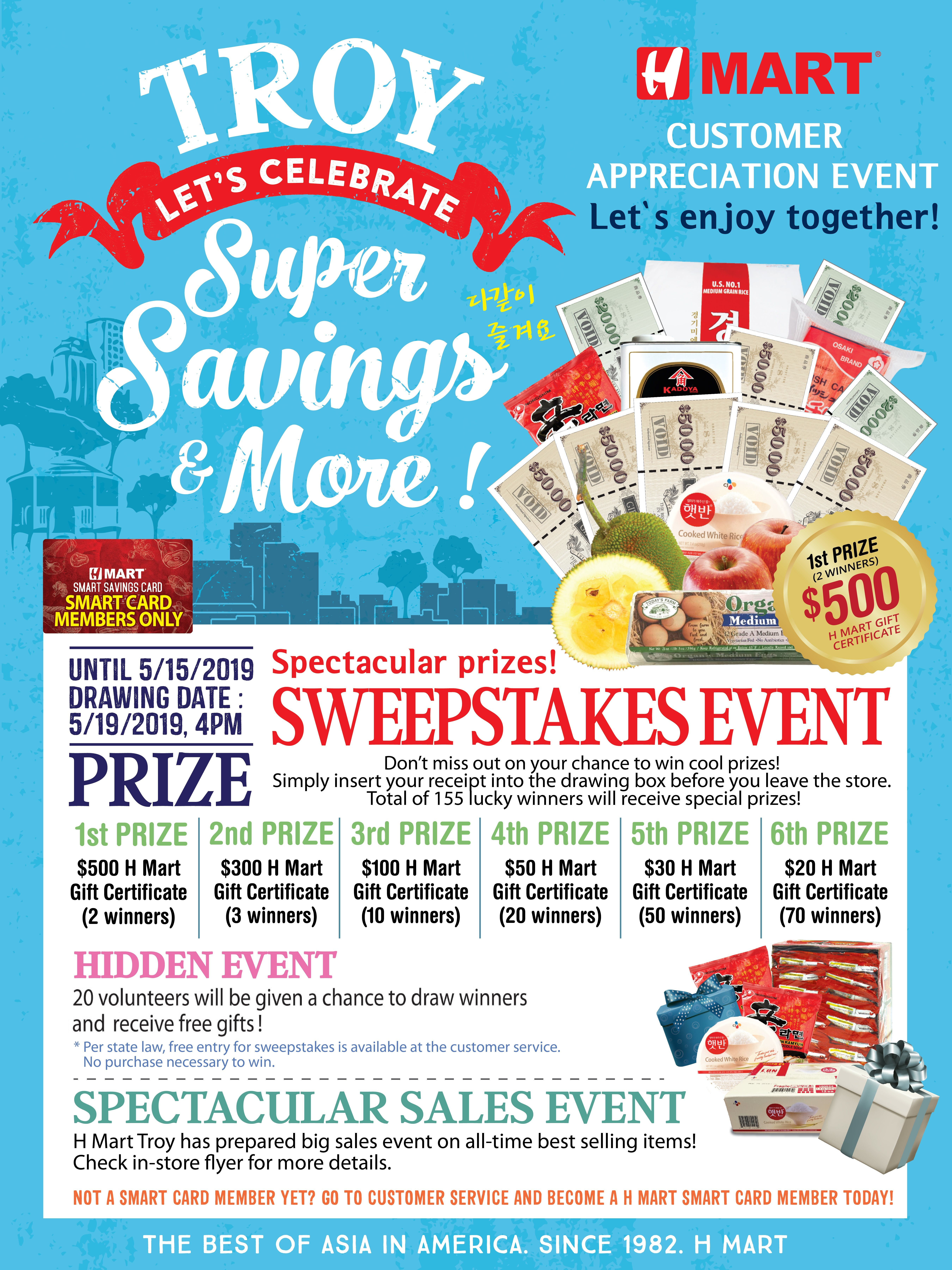 supermarket customer sweepstakes raffle draw h mart tory sweepstakes hidden event 5405