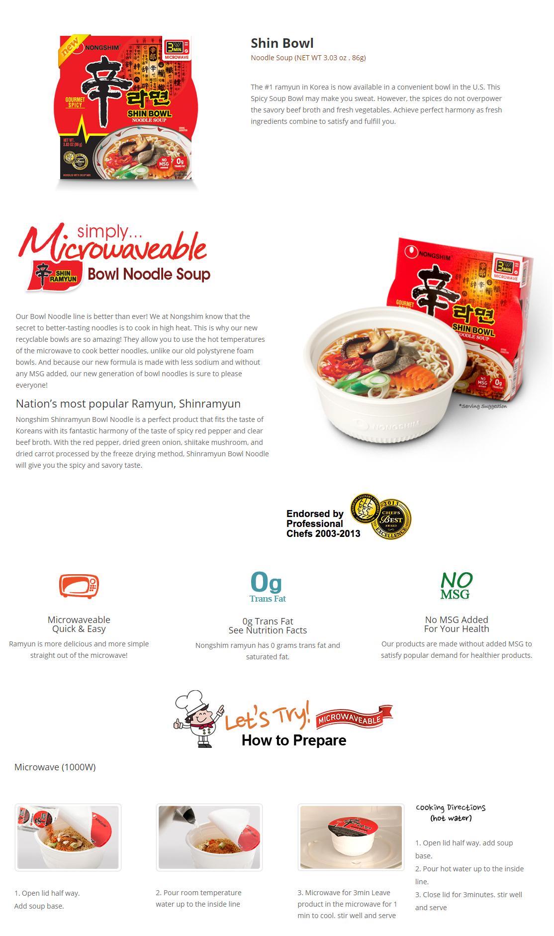 Shin Ramyun Noodle Soup Bowl  3.03oz(86g) 12 Cups
