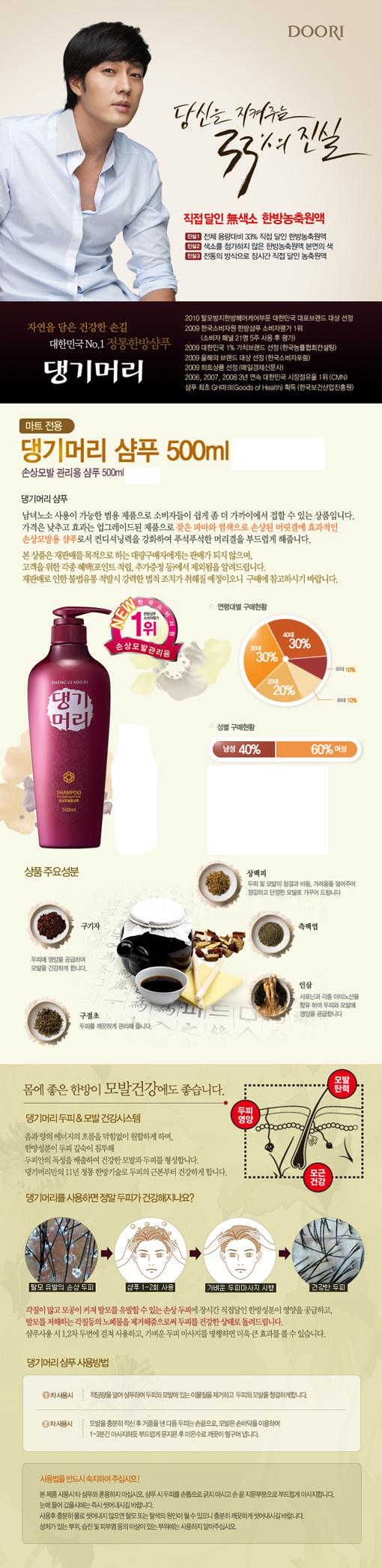 Daeng Gi Meo Ri Shampoo For Damaged Hair 16.9 fl.oz(500ml)
