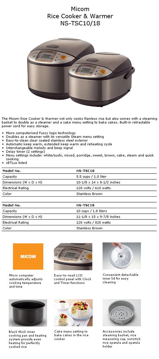 Micom Rice Cooker & Warmer NS-TSC18 10 Cups