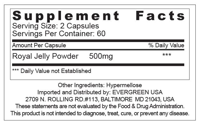 Evergreen Royal Jelly 10HDA 30mg 120 Caps