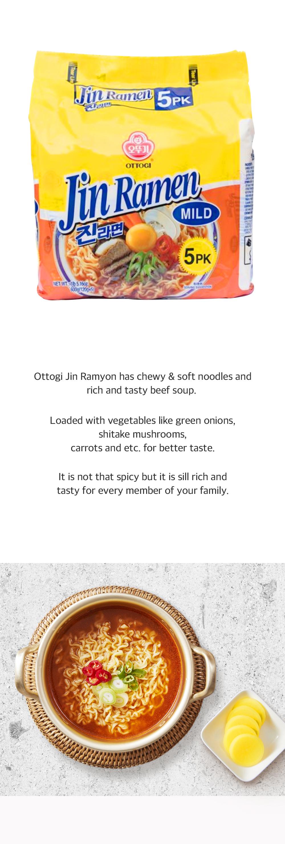 Jin Ramen Mild Flavor 4.23oz(120g) 5 Packs
